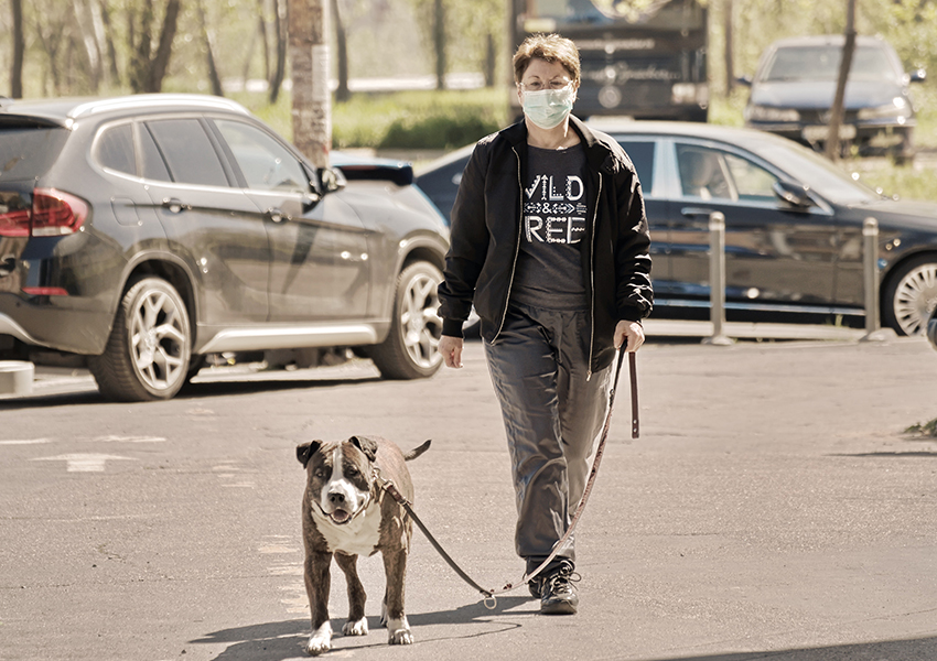 Femme portant un masque tout en promenant son chien en laisse dans la rue