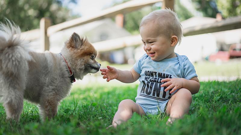 Bébé assit dans l'herbe souriant et jouant avec un petit chien